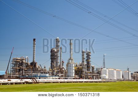 Industrial Petroleum Refinery Plant Smokestacks and Piping Details