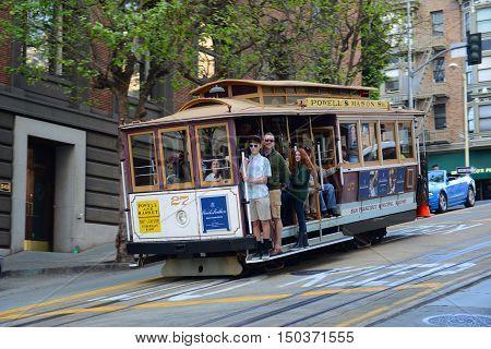 SAN FRANCISCO - MAR. 14, 2014: Antique Cable Car on Powell Street in San Francisco, California, USA.