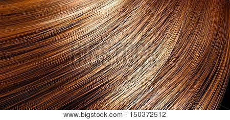 A 3D render of a closeup view of a bunch of shiny straight brown hair with highlights in a wavy curved style