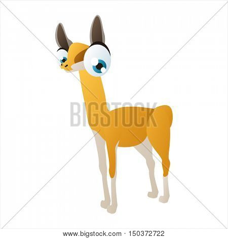 vector cute isolated animal character illustration. Funny Llama