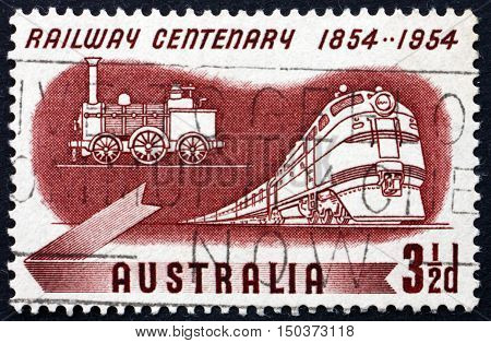AUSTRALIA - CIRCA 1954: a stamp printed in Australia shows Diesel and Early Steam Locomotives Centenary of Australian Railroads circa 1954