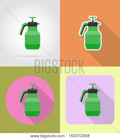 gardening tool sprayer flat icons vector illustration isolated on background