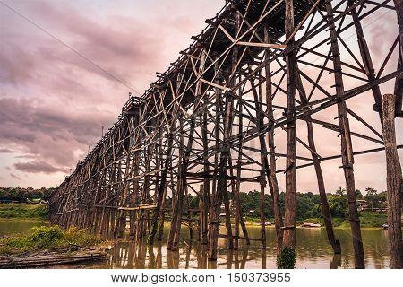 Auttamanusorn Wooden Bridge (Mon bridge) is the longest wooden bridge in Thailand.