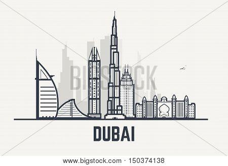 Dubai architecture skyline silhouette. Line pixel style art. Dubai famous hotels.