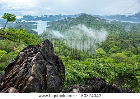 Tarzan View Point at in Ratchaprapha Dam at Khao Sok National Park, Surat Thani Province, Thailand