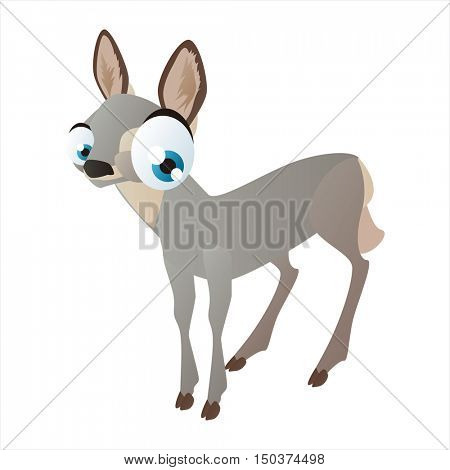vector cute isolated animal character illustration. Funny Doe