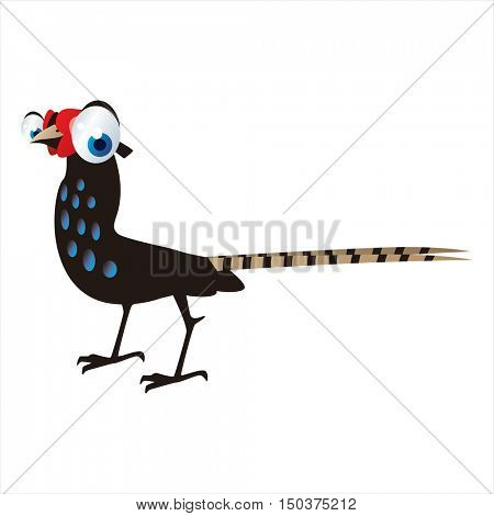 vector cute isolated animal character illustration. Bird. Funny Pheasant