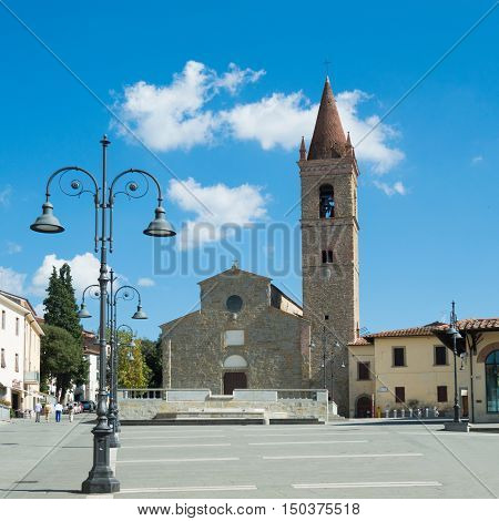 Sant'Agostino church in Arezzo Tuscany Italy - front and square