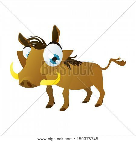 vector cute isolated animal character illustration. Funny Warthog