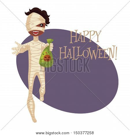 Happy boy dressed as mummy for Halloween, cartoon style illustration isolated on white background. Mummy fancy dress idea. Trick or treat Halloween card