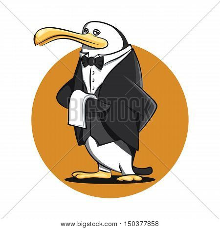 Funny Butler Waiter Penguin Cartoon in Uniform Vector