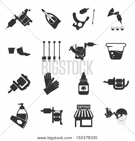 Tattoo, parlor, machine 16 black simple icon.Tattoo studio designed icons for web and mobile.
