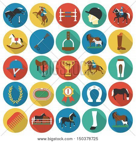 Horse, racing, racetrack 25 flat icons. Long shadow style for web design.