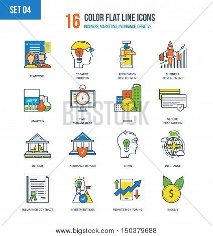 Color Flat Line icons set of insurance and investing, deposits, financial development, monitoring and time management, teamwork and protection of transactions, business development. Editable Stroke.