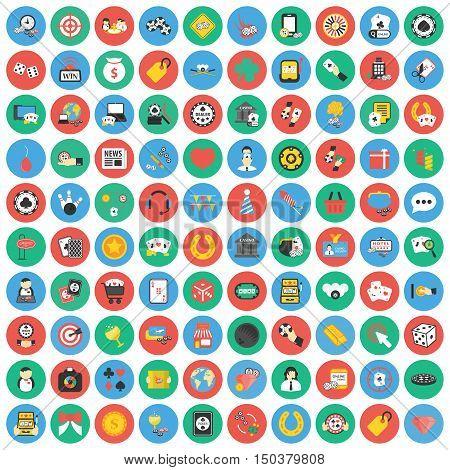 Gambling, game, Poker, casino 100 flat icons. Flat Casino, gambing game icon design for web and mobile.