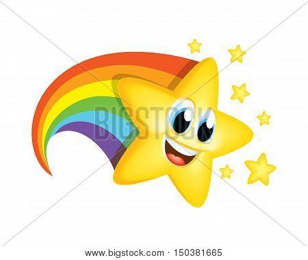 Cartoon Star Character Kids Fun Education Party Reaching Success