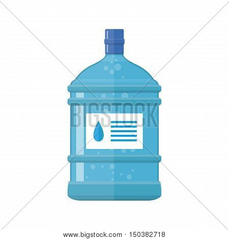 Office plastic bottle for water cooler, vector illustration in flat style isolated on white