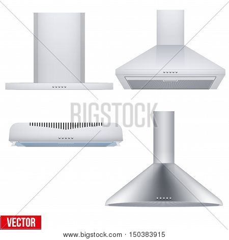 Set of different Kitchen range hoods. Front view. Domestic equipment. Editable Vector illustration Isolated on white background.