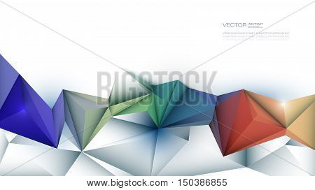 Vector Abstract 3D Geometric Polygon ( polygonal ), Triangle pattern shape. Multicolored blue, purple, yellow and green polygon background with space for your content, banner, template, business, network and web design