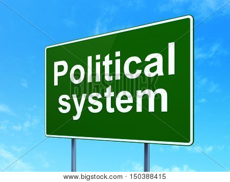 Politics concept: Political System on green road highway sign, clear blue sky background, 3D rendering