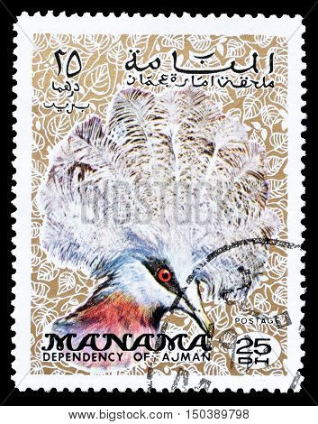 MANAMA - CIRCA 1970 : Cancelled postage stamp printed by Manama, that shows Southern Crowned Pigeon.