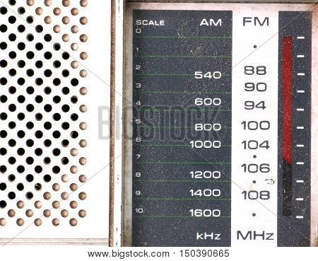 picture of a Scale Tuner of a Vintage Retro Radio on white background