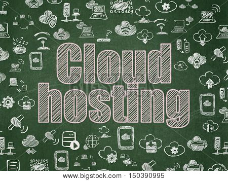 Cloud computing concept: Chalk Pink text Cloud Hosting on School board background with  Hand Drawn Cloud Technology Icons, School Board