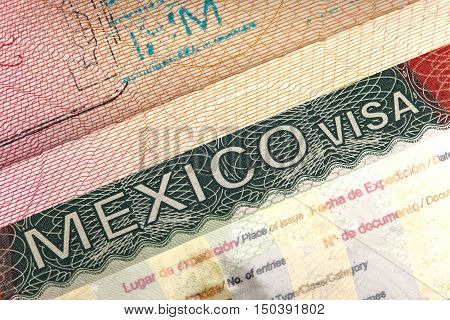 visa of Mexico in the international passport and Mexican pesos closeup