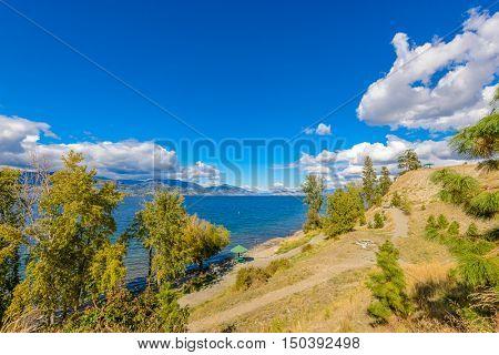 Beautiful Mountain Trail Park. Okanagan Lake. Canada.