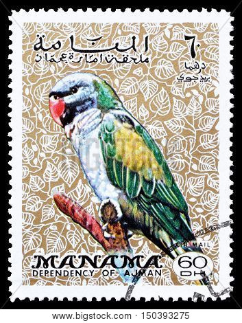 MANAMA - CIRCA 1970 : Cancelled postage stamp printed by Manama, that shows Parakeet.