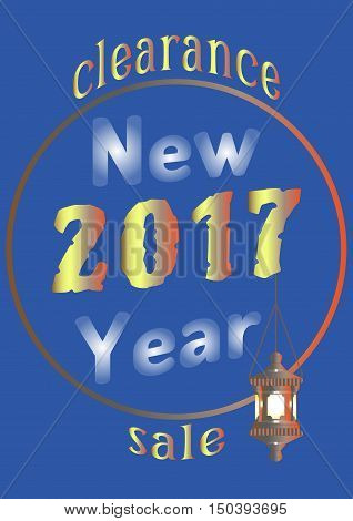 2017 New Year sale with an old lantern on chain
