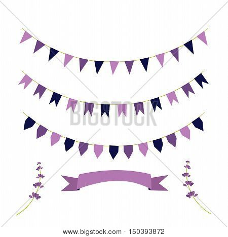 A set of check boxes color lavender ribbon color lavender on a white substrate