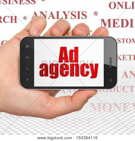 Advertising concept: Hand Holding Smartphone with  red text Ad Agency on display,  Tag Cloud background, 3D rendering