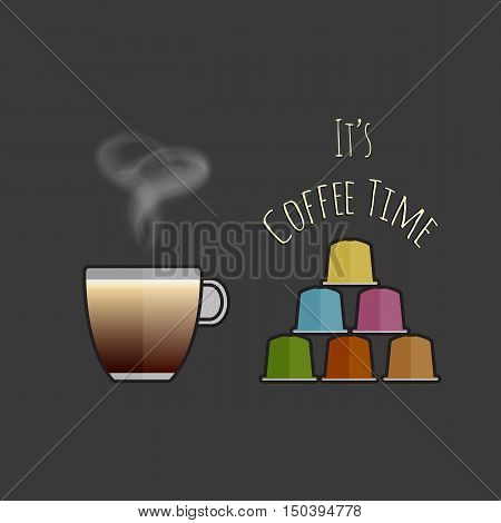 Flat vector cappuccino cup and capsules. Multicolored coffee pods for coffee machine. Cup of cappuccino and coffee capsule icon. Vector icon of espresso capsule. Coffee time concept illustration.