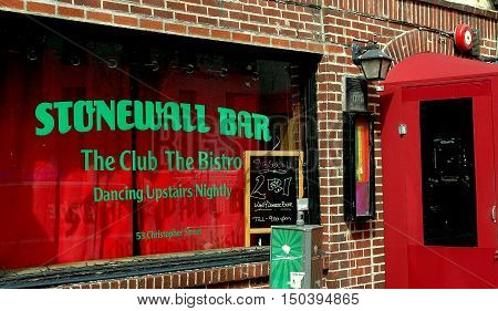 New York City - March 30 2005: The Stonewall Bar at 53 Christopher Street site of the 1969 uprising that began the gay liberation movement