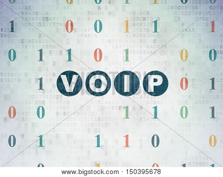 Web development concept: Painted blue text VOIP on Digital Data Paper background with Binary Code