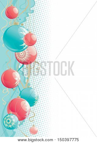 christmas decorations. Vector background with christmas baubles  at retro style