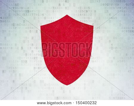 Security concept: Painted red Shield icon on Digital Data Paper background