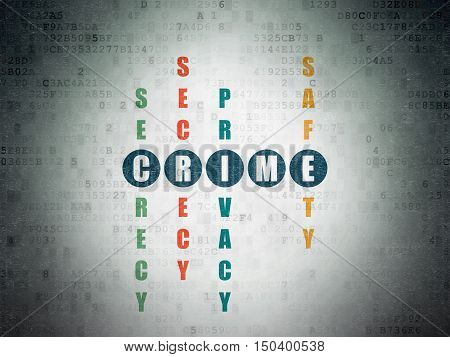 Security concept: Painted blue word Crime in solving Crossword Puzzle on Digital Data Paper background