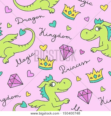 vector seamless pattern of cute cartoon dragons, texture for fabric print, souvenirs, babys products design