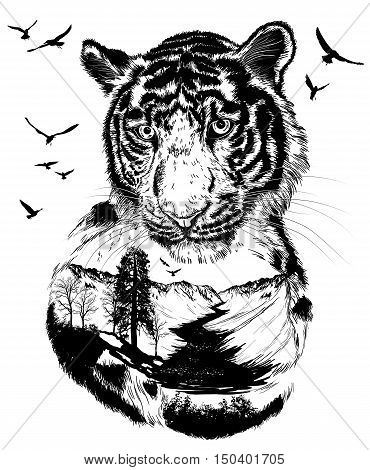 Vector Double exposure Hand drawn Tiger for your design wildlife concept
