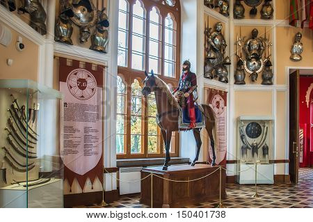 PUSHKIN, ST. PETERSBURG, RUSSIA - OCTOBER 02, 2016: Interior of Arsenal - park pavilion, built in 1819-1834 in Alexander Park of Tsarskoye Selo, Gothic style. It is Museum of the Imperial arms