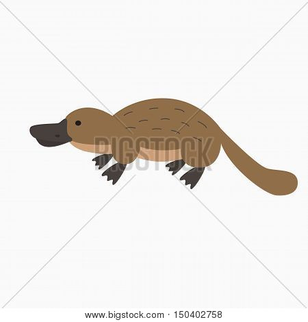 Vector illustration with cartoon hand drawn platypus icon. Australian animal background. Vector children book cover platypus illustration. Cute australia animal wildlife icon