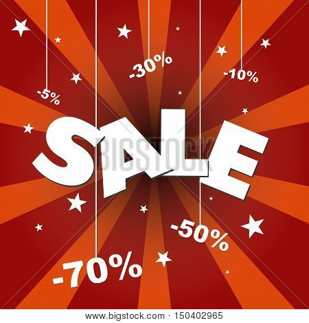 Sale poster with percent discount. Vector image