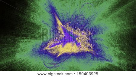 Abstract Pattern In Green Blue Purple Yellow On Dark Background