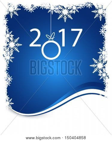 New year on winter blue background