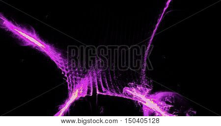 Abstract Pattern In Pink And Yellow Lines Curves Particles On Dark Background