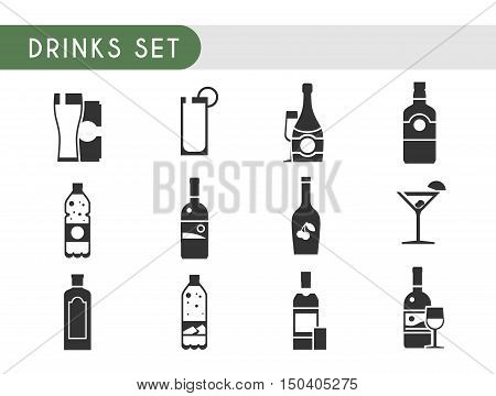 Set vector icons. Drinks: wine, champagne, vodka, whiskey beer gin Martini liquor water soda juice