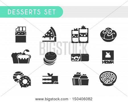Set black icons. Desserts: chocolate, cheesecake, ice cream, cupcake, muffin pasta chocolate bar brownies donuts tiramisu tarte
