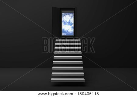 3D Rendering : illustration of stair or steps up to the sky in a door against black wall and floor,Opened door to blue sky and stair in black room with shadow,business success concept,rise growth,hope or future
